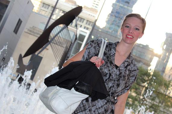 blurry plaid drop waist dress, white leather work bag, black blazer
