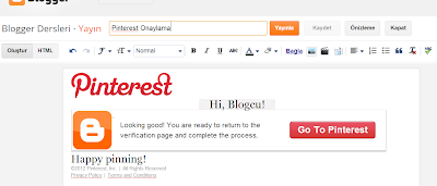 Pinterest Blog Doğrulamak