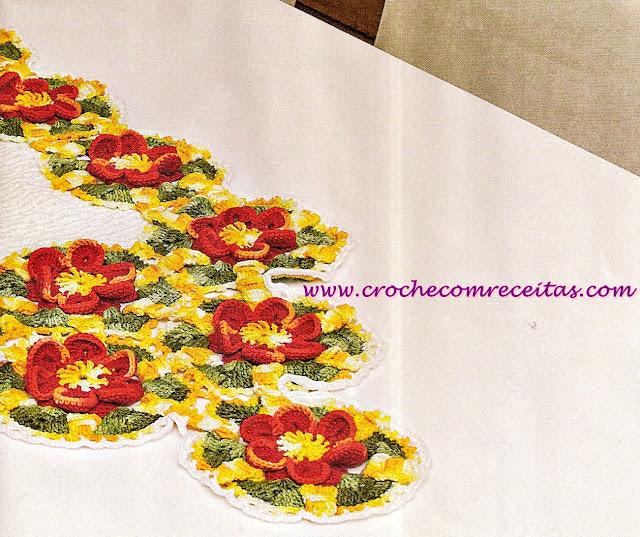 croche com receitas caminho de mesa floral