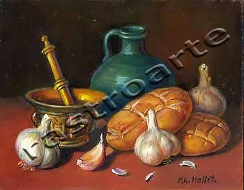 Bodegón con ajos, libretas de pan, almirez y vasija verde vidriada
