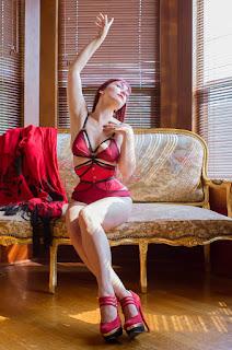 14eddefbc37 Dark Garden bespoke waspie in scarlet silk. Model  Victoria Dagger Photo ©  Alyxander Ryan