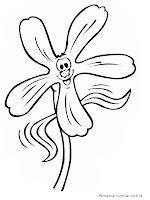 Gambar Kartun Bunga Tersenyum Untuk Diwarnai
