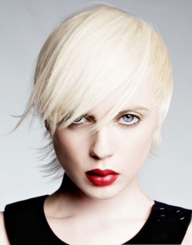 Choppy Layered Platinum Hair Style 2014