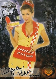 Alicia Arden wearing a Juicy Burgers waitress uniform