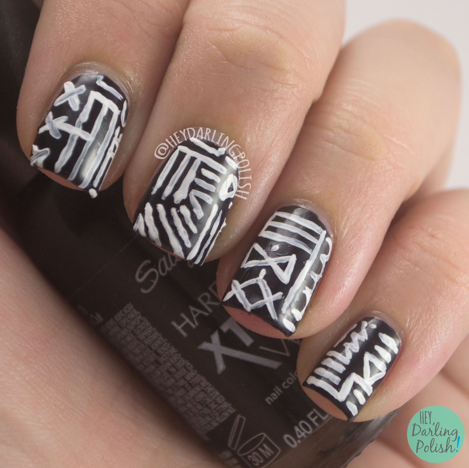 nails, nail art, nail polish, black, white, black & white, tribal, hey darling polish, 31 day challenge, 31dc2014