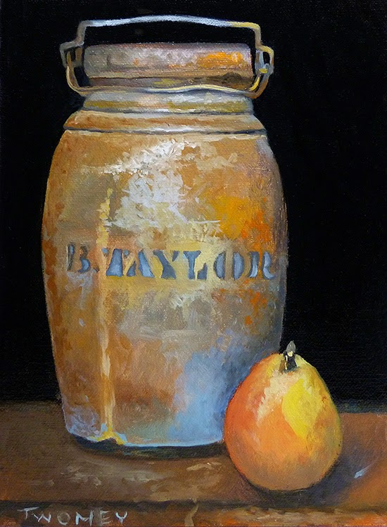 """Taylor Jug With Pear"" by Twomey"