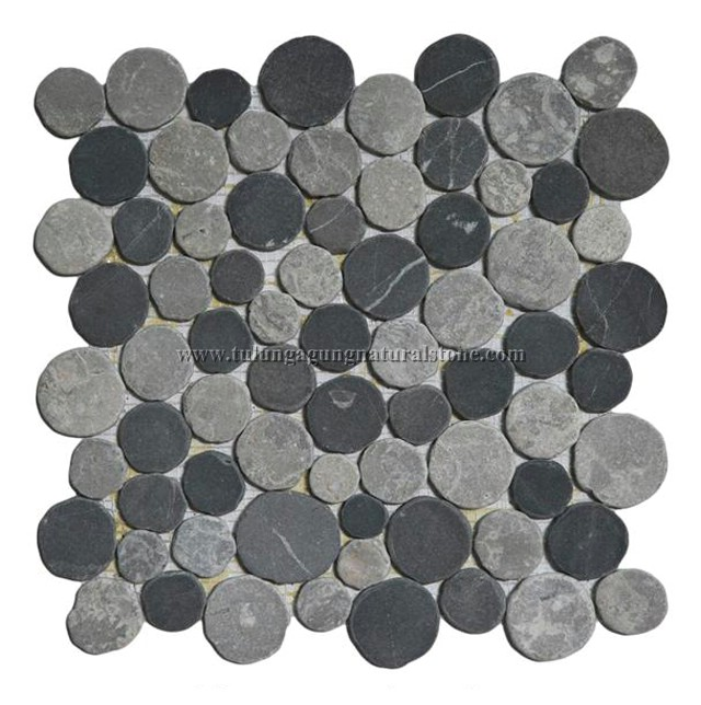 mosaic moon or coin interlock color mixed grey light grey size x cm qty pcs sqm stone size round. Black Bedroom Furniture Sets. Home Design Ideas