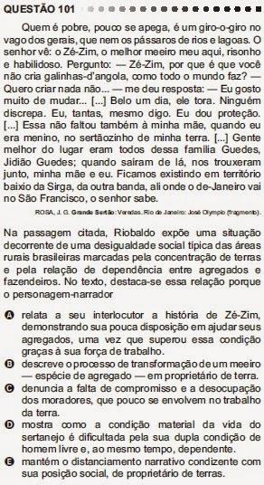 ANÁLISE - ENEM 2011 - QUESTÃO 101 - PROVA CINZA
