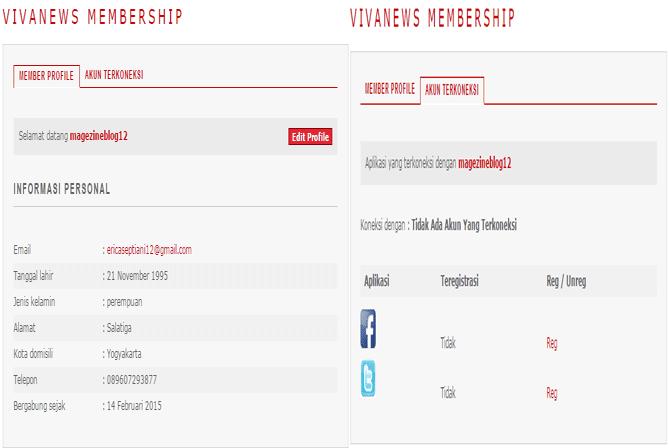 form profil akun  di vivanews