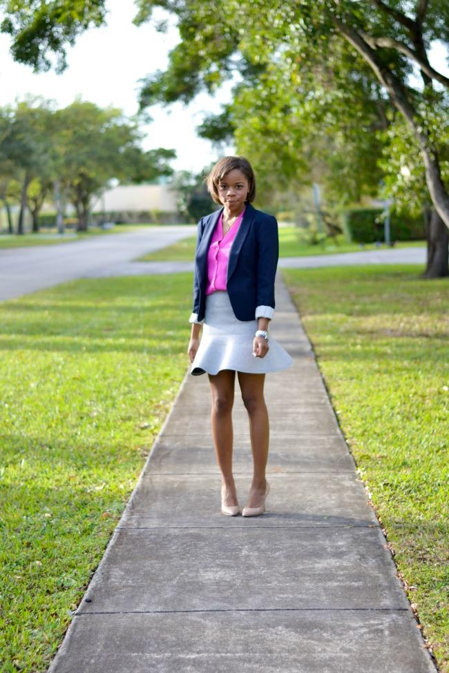 Work Outfit Ideas | Blazer + Flared Skirt + Nude Heels
