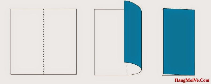 Bước 1: Gấp đôi tờ giấy lại theo chiều từ phải qua trái. Sau đó lại mở ra, mục đích để tạo thành các nếp gấp.