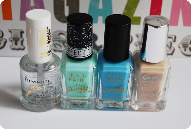 Rimmel 5 in 1 Nail Care, Barry M Riddley Road, Barry M Blueberry, Barry M Lychee