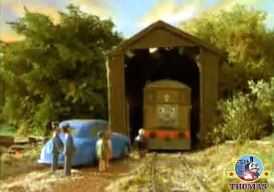 Sodor railway Sir Topham Hatt in the Fat Controller car grandchildren Toby the train wooded shelter