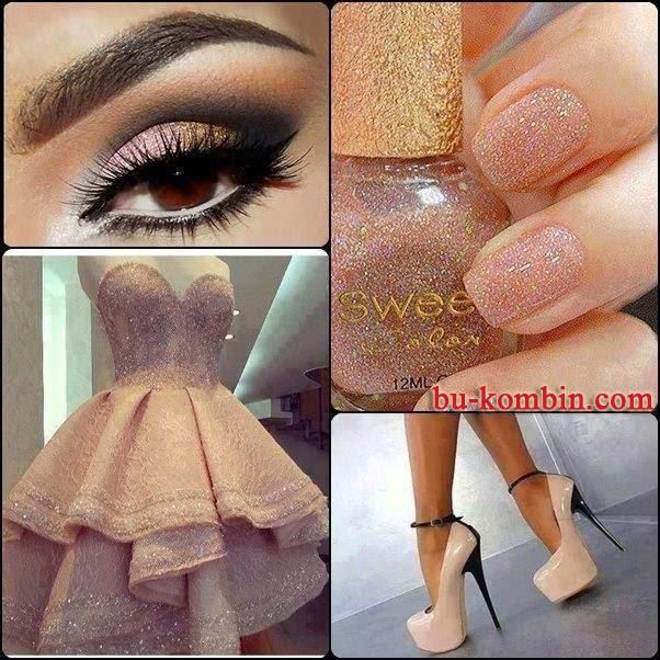 Simli Straplez Mini Elbise Kombini (Göz Makyajı Platform Topuklu Detayları)