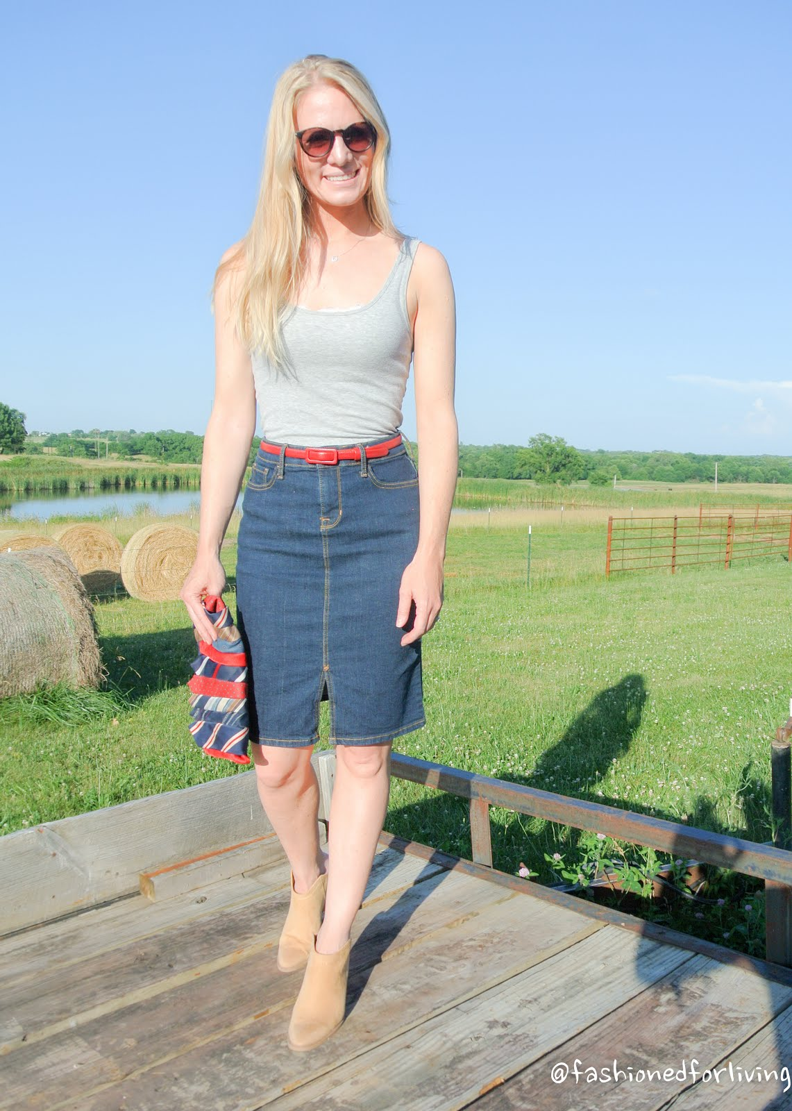 Fashioned For Living: denim skirt outfit. tank top. mules.