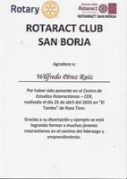 "Expositor de la conferencia ""Etiqueta Social e Imagen"" - Rotaract Club San Borja - Lima, 2015."