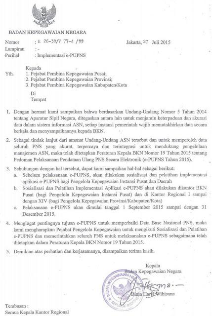 Surat Edaran Resmi Bkn Tentang Implementasi E Pupns Tahun