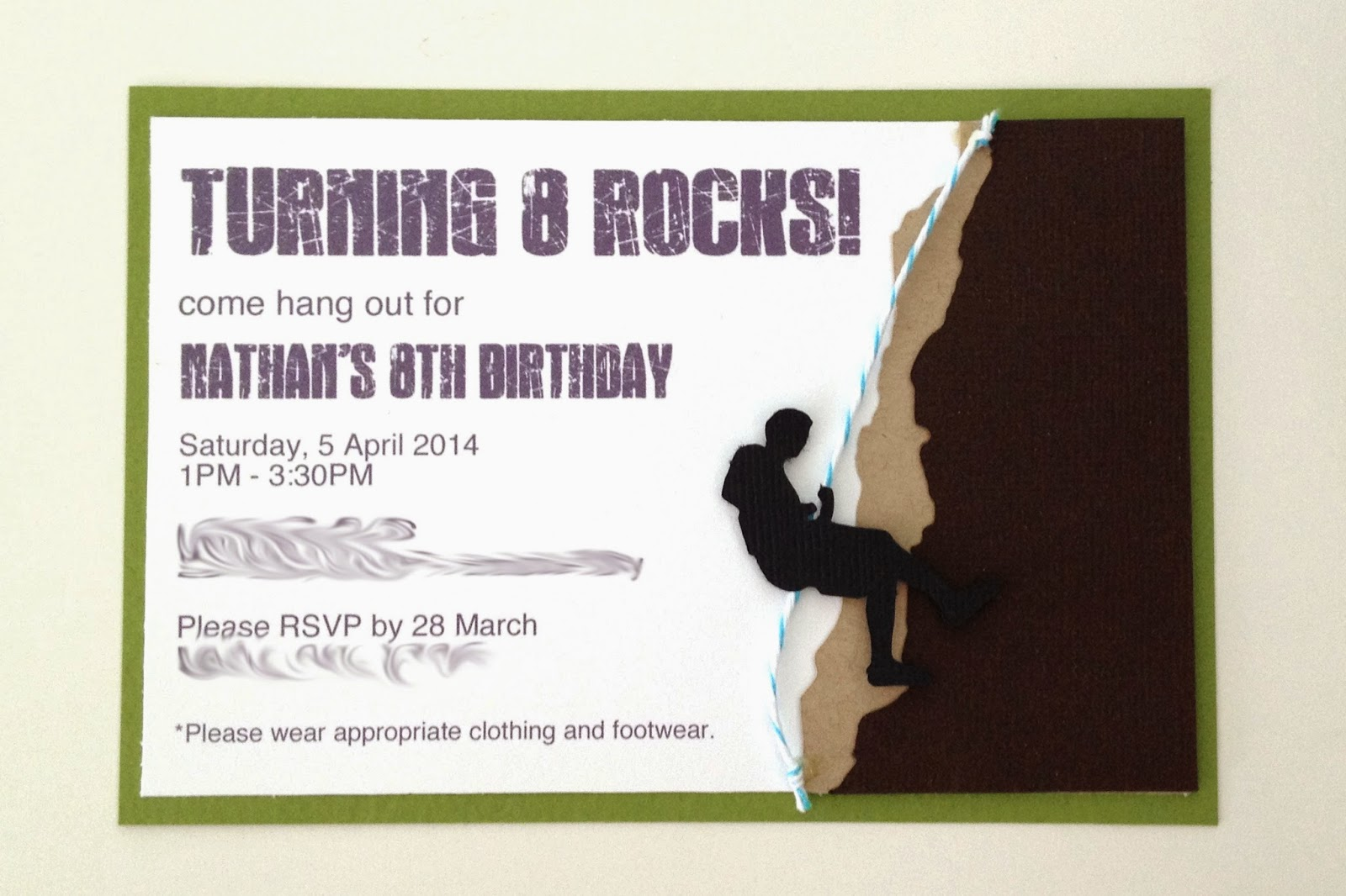 btsoi blogs: Nathan\'s Rock Climbing Party Invites