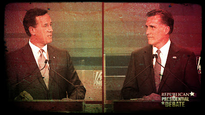 Rick Santorum and Mitt Romney debate