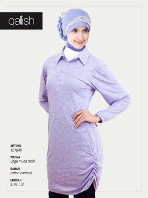 Produk Qallish Kaos Cardigan Koleksi Gamis Muslimah Ungu Muda Motif