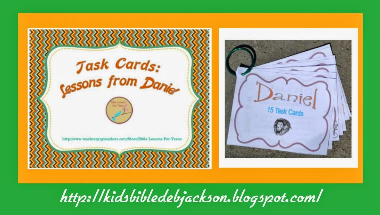 http://www.teacherspayteachers.com/Product/Bible-Task-Cards-Lessons-from-Daniel-1231269