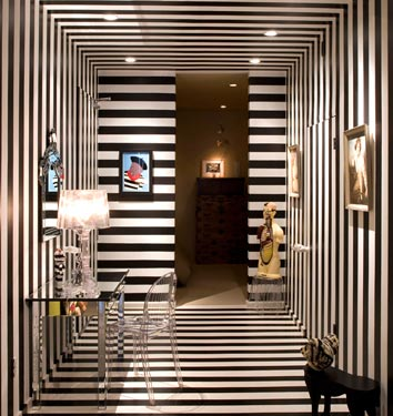 In This Entry Can Seem Like A Dizzying Piece Of Op Art But Theres Vasarely Quality Here Where The Repetition Stripes Circling Room