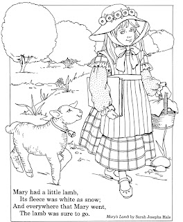 Inkspired Musin Mary Had A Little Lamb Coloring Page