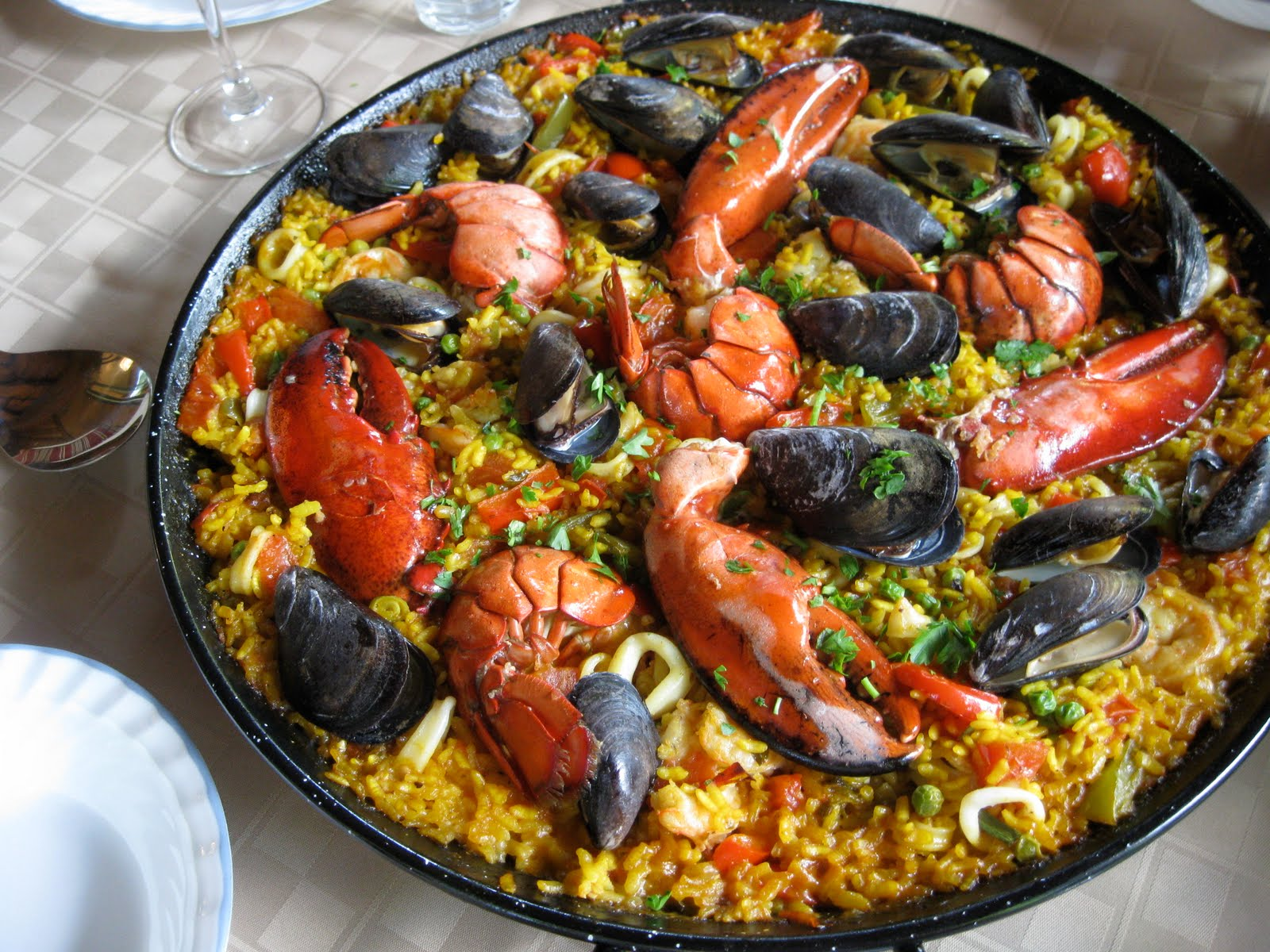 Not the paella I cooked, as I drank too much wine and forgot to take a ...