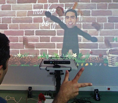 A Kinect game being played with a single hand.