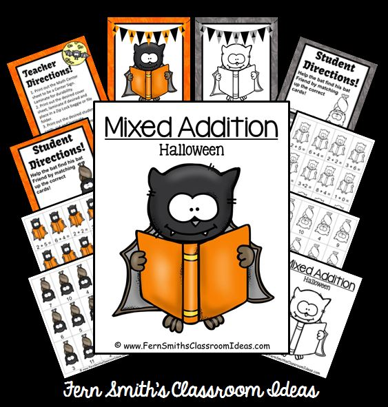 Fern Smith's FREE Mixed Addition Halloween Quick Easy Center and Printable