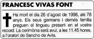 Esquela de Francesc Vivas i Font, en La Vanguardia del 27 de agosto de 1998