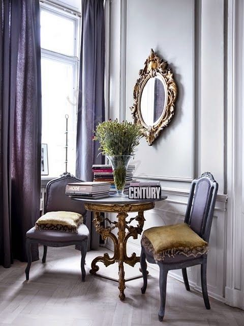 beautiful purple traditional chairs gilt mirror curtains vignette
