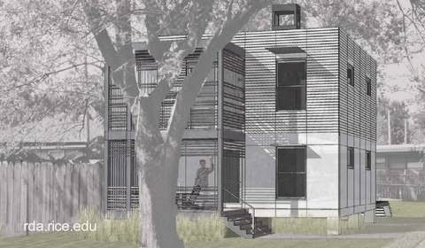 Dibujo de una casa cúbica de dos plantas económica en Estados Unidos