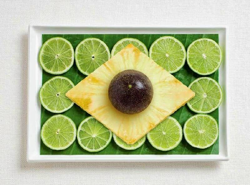 Brazil - Banana leaf, limes, pineapple, passion fruit