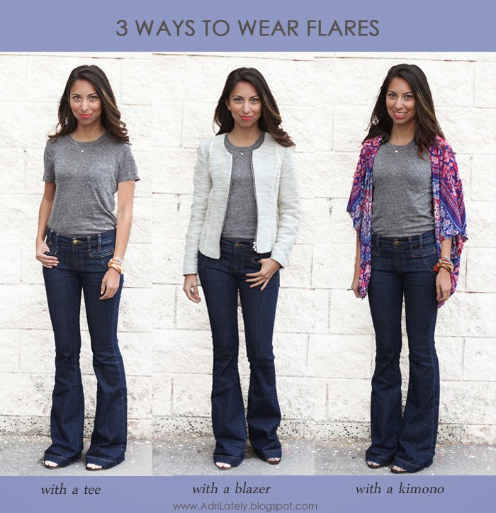 3 ways to style flare jeans
