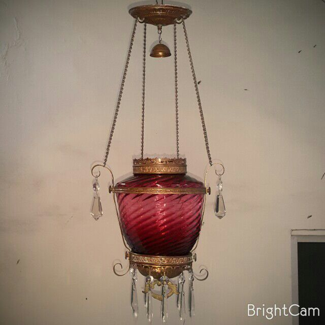 Cranberry Swirl Victorian Pendant Light (Oil Lamp) Ca