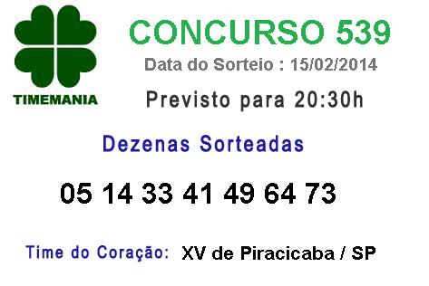 Resultado Timemania Concurso 539