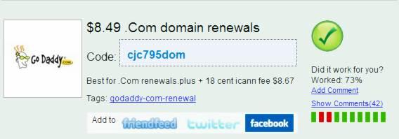 .Com Godaddy renewal coupon