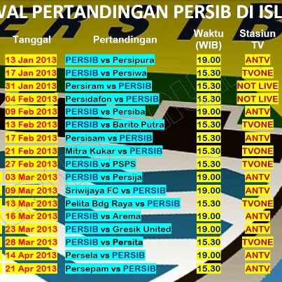Jadwal Persib Bandung 2013 putaran 1 dan 2 ,1933