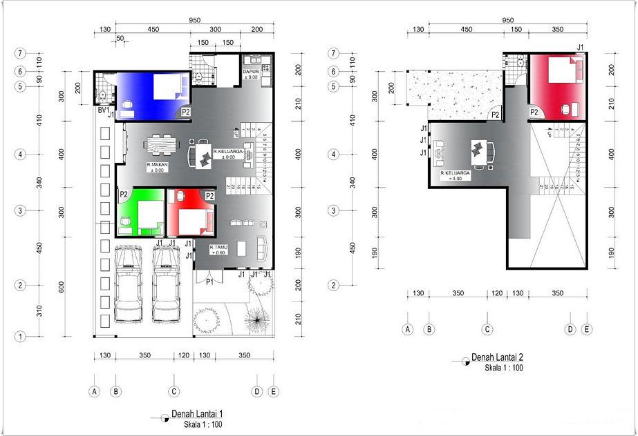 layout denah rumah dengan 3 kamar idaman