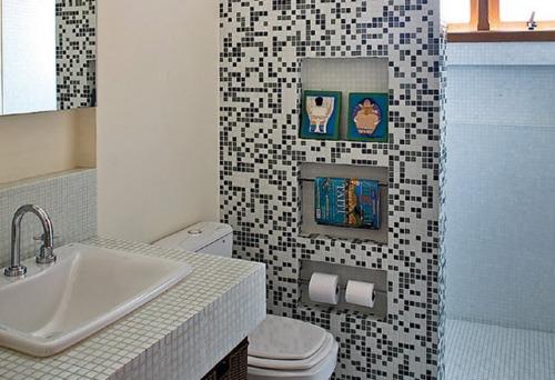 Brincando de Decorar Nichos no banheiro # Banheiro Pequeno C Nicho