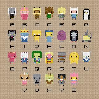 Adventure Time Alphabet - Cross Stitch PDF Pattern Download