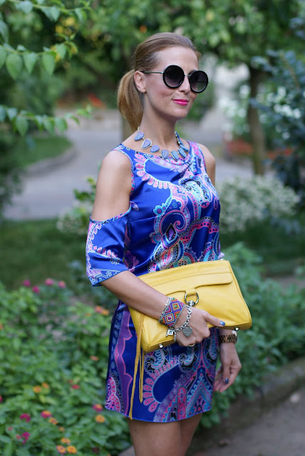 satin mini dress, cobalt blue dress, paisley dress, Fashion and Cookies, fashion blogger