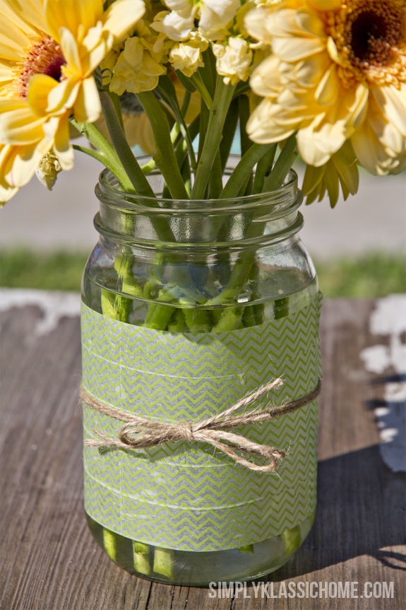 Easy Diy Washi Tape Mason Jar Vase A Spring Linky Party