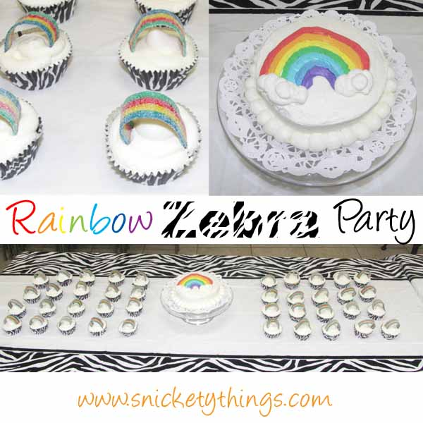 Snickety Things Rainbow Zebra birthday party