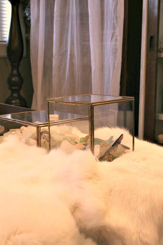 terrarium box, glass box, sea glass, rabbit fur, coastal decor, pottery barn