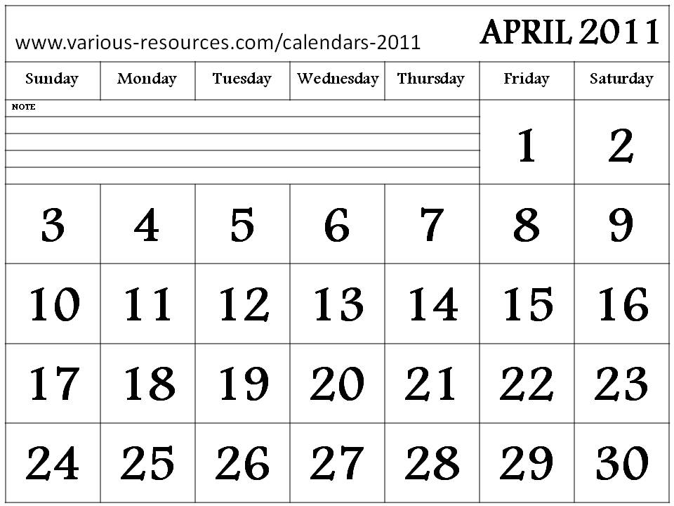 calendars 2011 april. Downloadable Calendar 2011