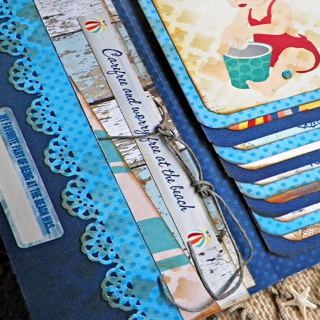 Wallet Mini Album by Lisa Novogrodski using BoBunny Boardwalk Collection Close Up 01