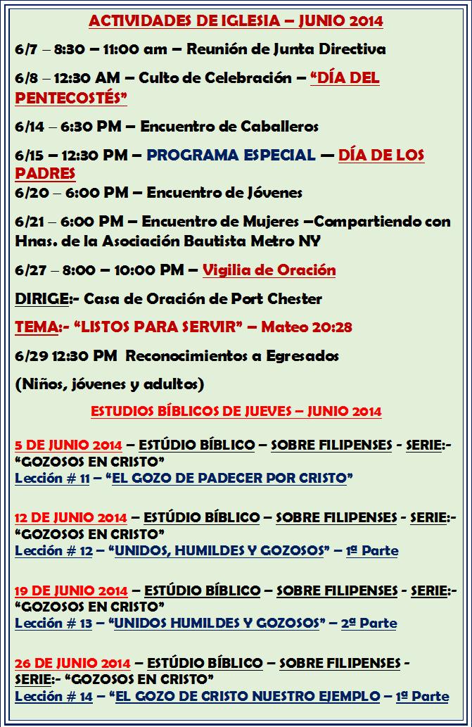 ACTIVIDADES MES DE JUNIO - 2014