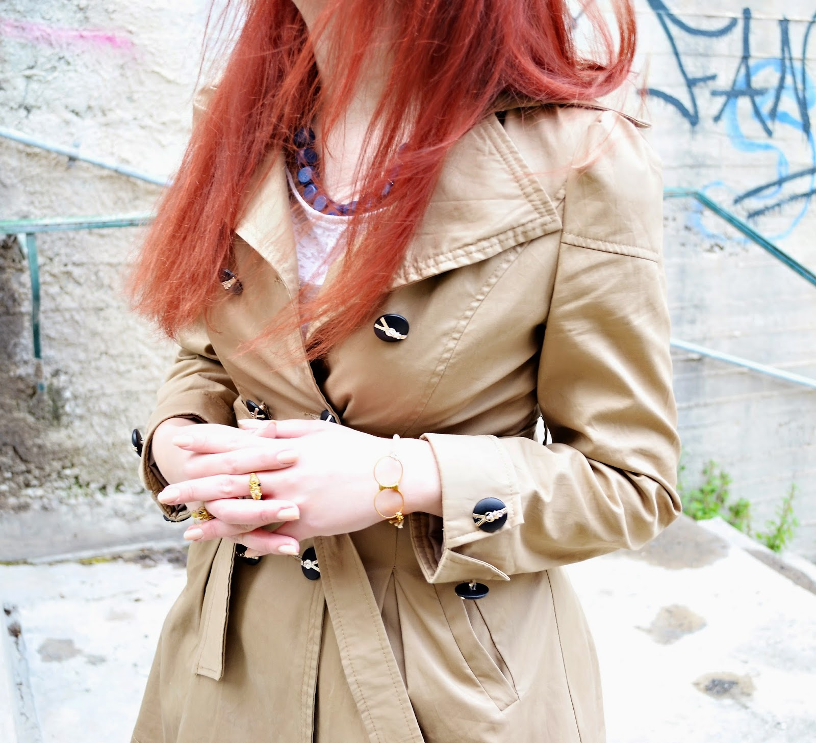 Anna ,Keni,redhead, spotlights on the redhead,fashion,model,blogger, gl handmade, creations, gege, lampraki, jewelry, oasap, review, coat, beige, spring, 2014, blue, pink